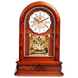 SXZHDZ Orologio da Tavolo Orologio da caminetto Solido Legno Musica Orologio Classico Vivente-Retro Muto Nonno Orologio 37.3 x 24.6 x 12,4cm