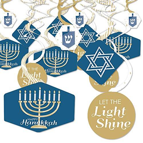 Big Dot of Happiness Happy Hanukkah - Chanukah Hanging Decor - Party Decoration Swirls - Set of 40