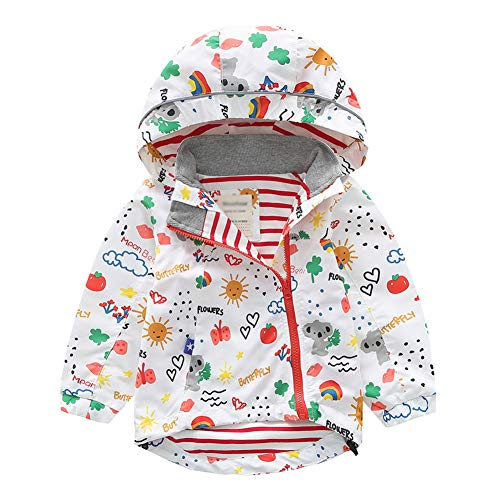 LAPLBEKE Kinder Mädchen Jacke Baby Jungen Regenjacke Frühling Herbst Oberbekleidung Windjacke Süßem Pattern Winddicht Mantel Kapuzenjacken Weiß Regenbogen 86