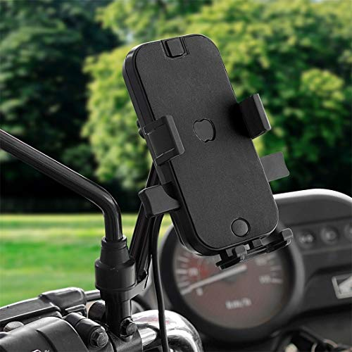 dayday light and beautiful CS-344C2 Motorcycle Chargeable Automatic Lock Mobile Phone Holder, Mirror Holder Version (Black) (Color : Black)