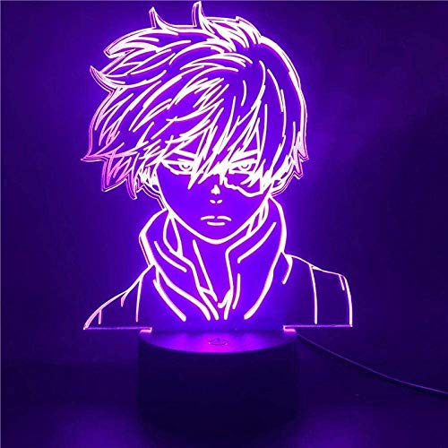 giyiohok 3D Illusion Lamp Led Night Light Anime My Hero Academia Shoto Todoroki Face Design for Children Kid Boys Room Decor Acrylic Table Lamp Gift