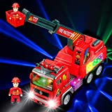Fire Engine Ladder Truck for Kids with Two Fireman Figures - 4d Lights & Real Siren Sounds | Bump and Go Toy - Automatic Steering On Contact - Imaginative Play