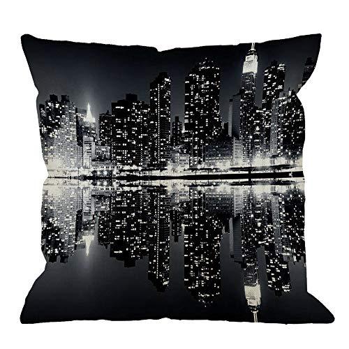 iksrgfvb Fodera per Cuscino di tiro New York Night City Paesaggio Rise Building Cuscini Decorativi per la casa Neri Fodere per Cuscini Quadrati in Lino di Cotone per Divano, 45X45 CM