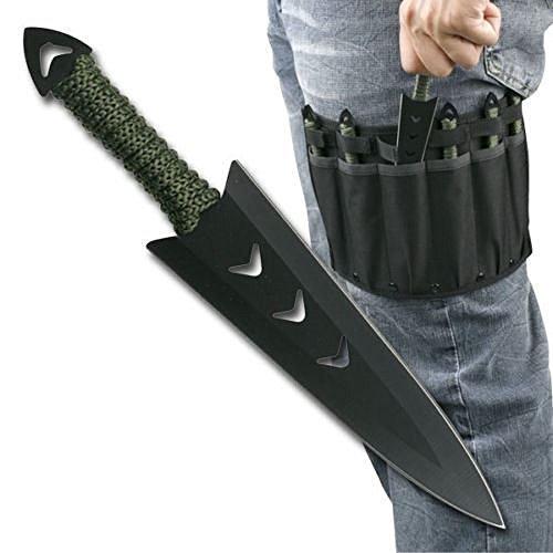 6 pcs. Ninja Tactical Combat Hunting Kunai Throwing Knife Set w/ Sheath Case