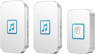 Wireless Doorbell, IP44 Waterproof Doorbells with 300M Range,1 Push Button And 2 Receivers with LED Flash,60 Ringtones,5 V...
