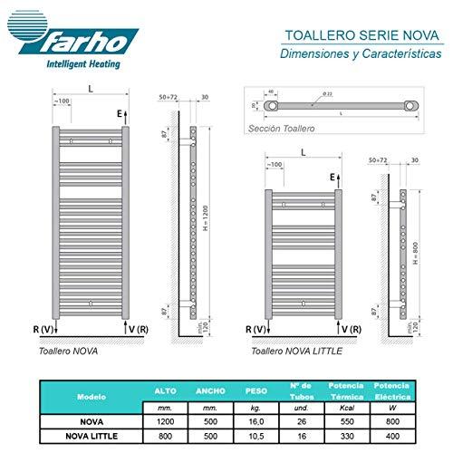 farho SECHE Serviette Electrique Nova Chromé ··· Radiateur Seche Serviette Electrique · 800 Watts · Mesure (1200 x 500 mm)