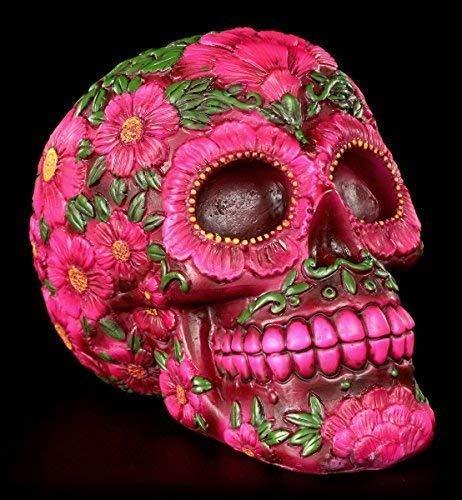 Totenkopf Figur mit Blumen Muster pink | Schädel - Dia de Muertos Deko