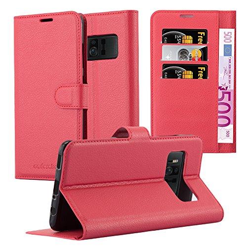 Cadorabo Hülle für ASUS ZenFone AR - Hülle in Karmin ROT – Handyhülle mit Kartenfach & Standfunktion - Hülle Cover Schutzhülle Etui Tasche Book Klapp Style