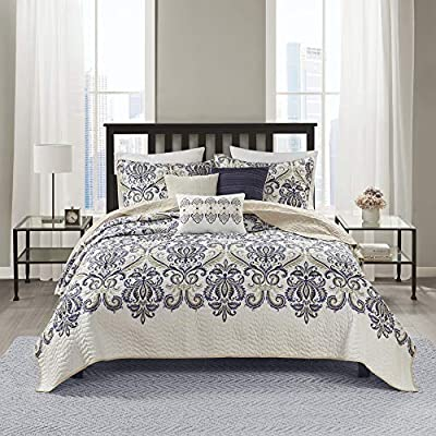 "Madison Park Quilt Traditional Damask Design All Season, Lightweight Coverlet Bedspread Bedding Set, Matching Shams, Pillows, King/Cal King(104""x94""), Cali, Navy/White from Madison Park"