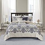 Madison Park Quilt Traditional Damask Design All Season, Lightweight Coverlet Bedspread Bedding Set, Matching Shams, Pillows, King/Cal King(104'x94'), Cali, Navy/White