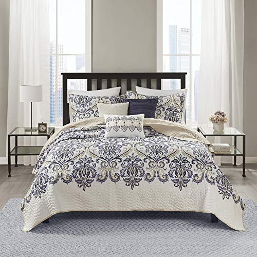 Madison Park Quilt Traditional Damask Design All Season, Lightweight Coverlet Bedspread Bedding Set, Matching Shams, Pillows, Full/Queen(90'x90'), Cali, Navy/White, 6 Piece