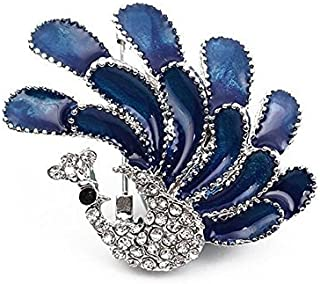 Broche para mujer PULABO con ramillete azul de pavo real de boda de novia, broche para vestido de hombre, bufandas, chal, ...