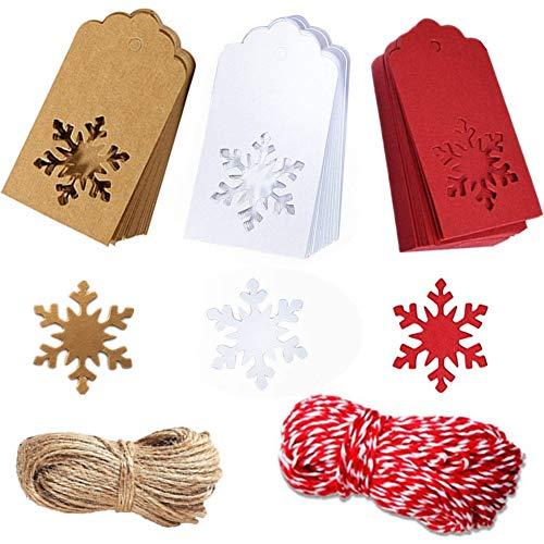 from Santa Tags Kraft Christmas Tags Hang Labels Christmas Tree Snowflake Design for Christmas Favor,DIY Arts and Crafts Wedding Supply with 100 Pieces 10 Meters Ribbon