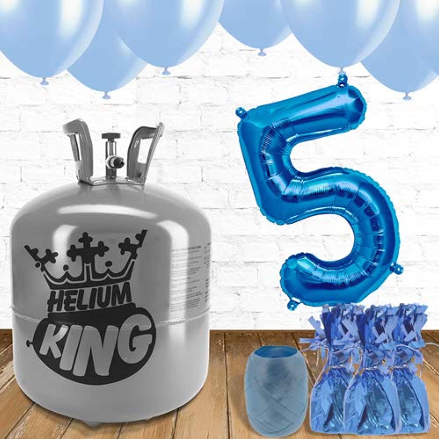 5th Birthday Helium Gas Package with bluee Balloons