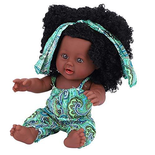 Weiche Babypuppe Künstliche Neugeborene Babypuppen Vinyl Lebensechte Ganzkörper Reborn Puppe Interaktive Spiele Spielzeug für Kleinkind Jungen Mädchen Geburtstagsgeschenk (Green Floral Jumpsuit)