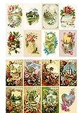 Decoupage Papier Pack (20 blatt 10x15cm) Spring Landscapes Garden Wildflowers FLONZ Vintage Retro