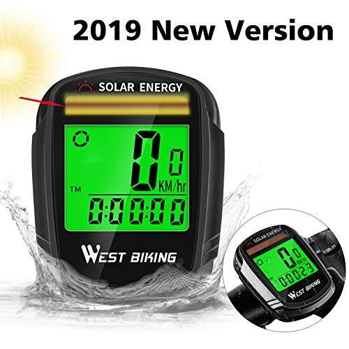 Bicycle Pedometer Odometer Solar Power Speedometer, Bike Wireless Waterproof Cycling Computer, Biking Accessories with LCD Display Auto Wake-up Motion Sensor & Multi-Functions