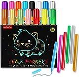 BeebeeRun Liquid Chalk Markers for Blackboard(21 Chalk Pens,15 Neon Colors) Kids Art Chalkboard