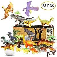WOSTOO Juego de Dinosaurios, Figura de Dinosaurio 17 Piezas Juguete Dinosaurio & 1 Piezas Huevos de Dinosaurio con 5 Plantas Regalo para Chicos Niños