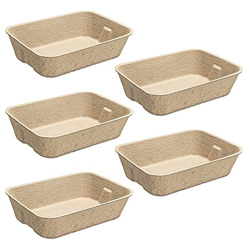 Navaris Set 5X Vassoio Lettiera Gatto in Cartone Naturale Biodegradabile - 5X Lettiere USA e Getta Compostabili da Viaggio 40,5x30cm - Cat Litter Tray