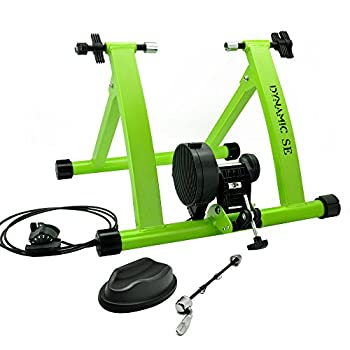 DYNAMIC SE Indoor Bike Trainer Indoor Eexercise Bicycle Magnetic Trainer Stand 6 Levels Magnetic Resistances with Quick Release Skewer Green