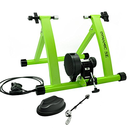 DYNAMIC SE Indoor Bike Trainer Indoor Eexercise Bicycle Magnetic Trainer Stand 6 Levels Magnetic Resistances with Quick Release SkewerGreen