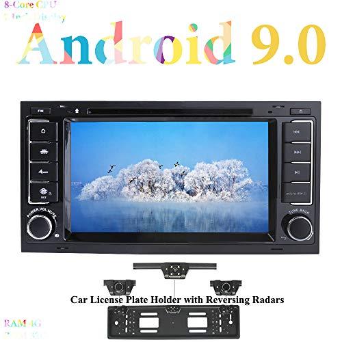 XISEDO Android 9.0 Autoradio 7 Pulgadas In Dash Radio de Coche 8-Core RAM 4G ROM 32G Car Radio para Volkswagen Touareg/ T5 Multivan/Transporter (con Placa de Matrícula con Radar de Estacionamiento)