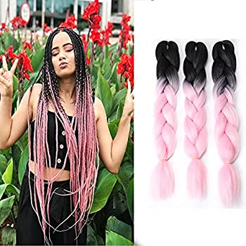 VOKEYLA Ombre Braiding Hair for Twist Braids Jumbo Braiding Hair Extensions for Crochet Pink Kanekalon Hair Extensions for Women 3pcs High Temperature Synthetic Fiber for Box Braids  Color Black/Light Pink