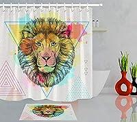 Amxxy トレンディな動物のライオン柄のバスルームのシャワーカーテンバスマットセットは、フランネル素材のバスマット付きのバスルームのシャワールームのために掃除しやすい耐久性のあるファブリックを耐久性