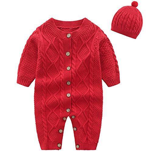 amropi Bebé Recién Nacido Niña Mono de Punto con Gorra Ropa de una Pieza Suéter Peleles Rojo,3-6 Meses