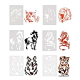 6Pcs Drawing Painting Stencils Wolf Lion Tiger Horse Dragon Cat Animals Template Sets for Craft Projects, Home Art and Kids Creation(7x10.24 Inches)