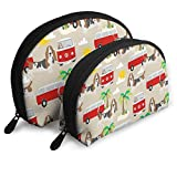 Basset Hound Summer Beach Travel Portable Cosmetic Bags Organizer Set of 2 for Women Teens Girls