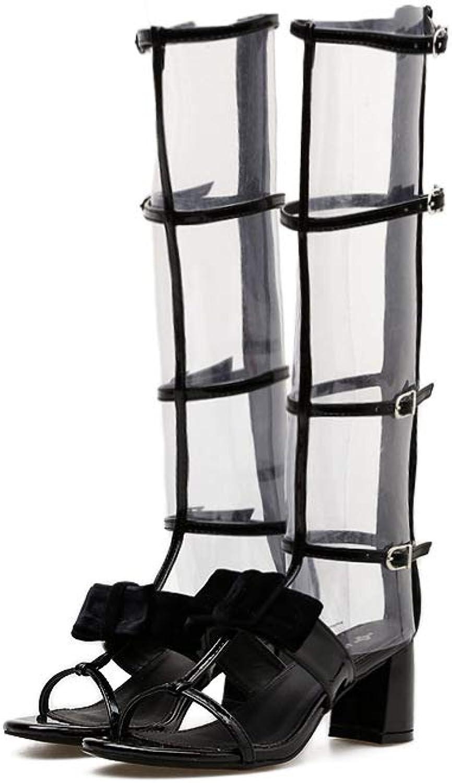 Women's Fashion Open Toe Metal Buckle Adjustable Zipper Back Gladiator Thick Heel Sandals,6.5MUS