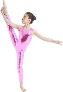 Kid's Metallic Sleeveless Long Sleeve Full Body Gymnastics Unitard Foil Costumes Lycra Spandex Tank Bodysuit
