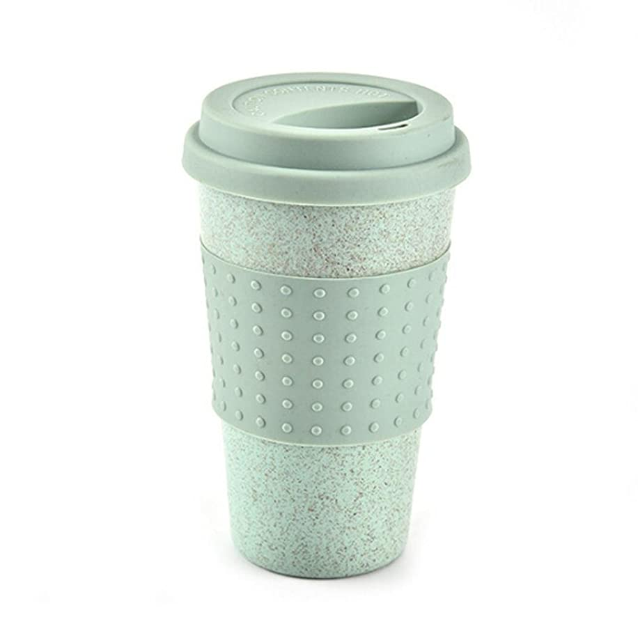 Botrong Kitchen Wheat Straw Coffee Cup Mug Tumbler with Lid Eco-friendly Unbreakable (Green)
