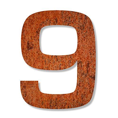 Keilbach Designprodukte 80029 Keilbach, Hausnummer iron.number.240, korrodierter wetterfester Stahl, Typografie Eurostile, Höhe 240 mm, Ziffer 9, Grau