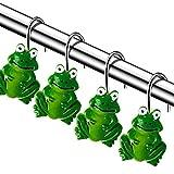 Chictie Set von 12 Frosch Duschvorhang-Haken Edelstahl Cartoon Dekorative Badezimmer Ringe Kinder Favorit Tier Grün Home Decor
