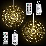 Ledmomo LED Starburst luci telecomando batteria alimentata da appendere in rame flash luci per Natale matrimonio feste all aperto decorazione (luce bianca calda)
