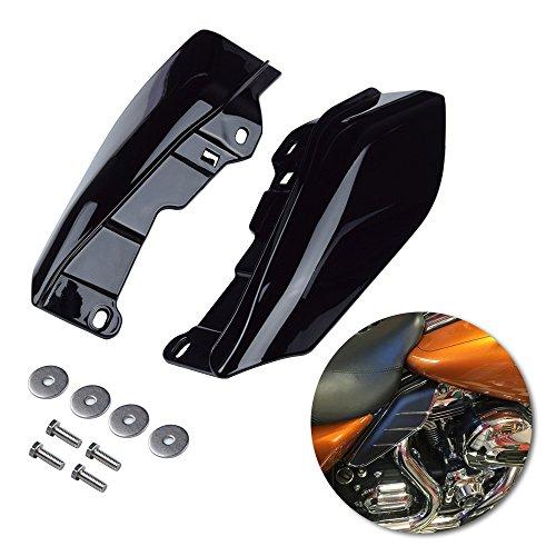 Amazicha Vivid Black Mid Frame Air Heat Deflectors Trim Left Right Set Compatible for Harley Touring and Trike Models 2009-2016