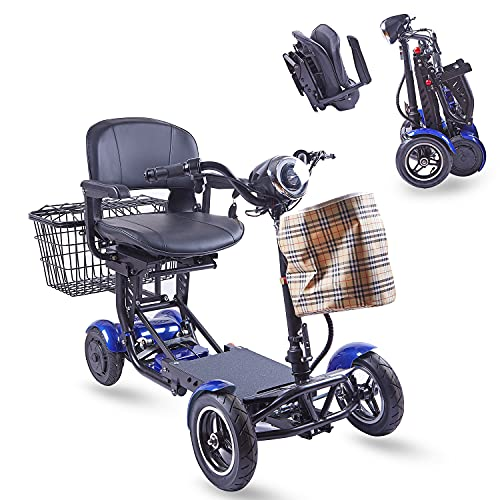 ActiWe Mobility Scooters for Seniors - Electric Powered Motorized Lightweight Transformer 4 Wheel Scooter w/ Adjustable Seat for Adults - All Terrain 4x4 Off Road Folding Mobility Scooter