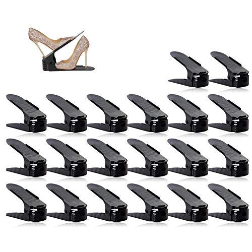 wolketon 30 Stück Einstellbare Schuhregale schwarz Verstellbarer Schuhregal Platzsparend Schuhstapler rutschfest Kunststoff Schuhrganizer Schuh Slots Organizer
