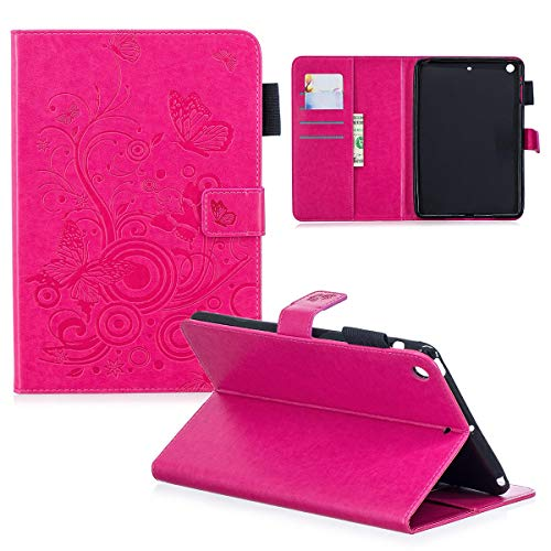 iPad Mini 2/3 Durable Case, Premium PU Leather Stand Cover with [Card Slots/Cash Holder] [Stylus Holder][Shockproof] Shell for Apple iPad Mini 1st, 2nd and 3rd Generation, Rose Embossed Butterfly