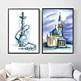 TeriliziLeinwand Malerei Nordic Wohnkultur Aquarell Shisha Moschee Islamischen Wandkunst Bild Drucke Modulare Moderne Poster Für Wohnzimmer Room-45X60Cmx2 Kein Rahmen