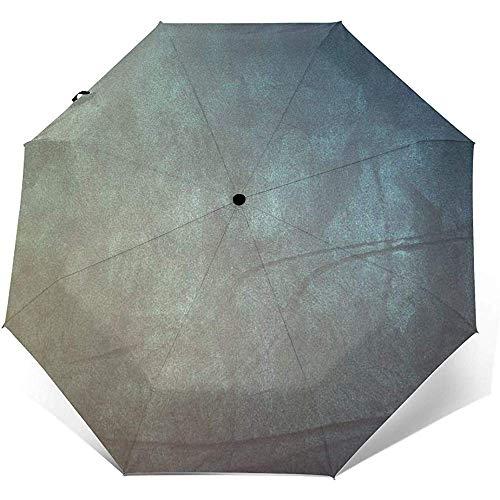 Auto Öffnen Schließen Dreifachgefalteter Reiseregenschirm, Kunstpapier Punkte Winddicht Wasserdicht Taschenschirm Außenwand Druck Sonnenschirm