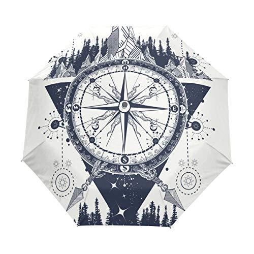 Orediy Automatischer Faltbarer Regenschirm Kompass Tattoo Art Winddicht Reisen kompakt tragbar Sonne Regen UV-beständig