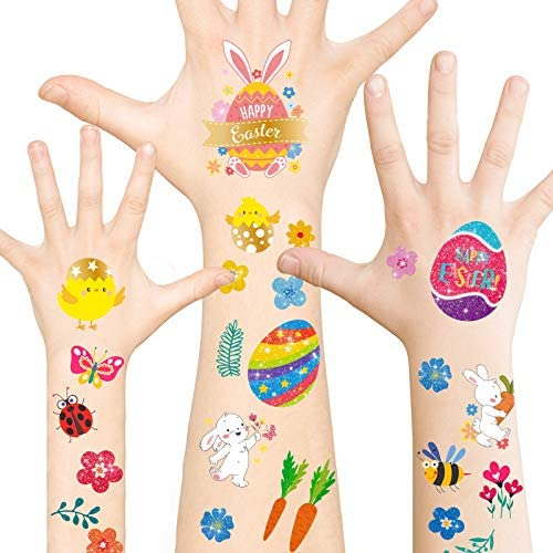 Whaline Easter Temporary Tattoos 33 Sheet Glittery Foil Easter Tattoo Decals Colorful Easter product image
