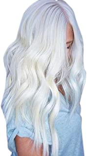 Women Natural White Long Curly Wig Synthetic Wavy Hair Full Front Heat Wig