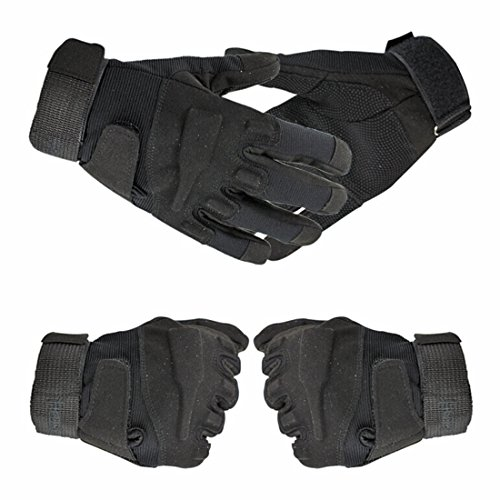 yihengya Yihya Traspirante Anti-Scivolo Guanti - Tattici Militari Sportivi Tactical Outdoor Sport Fitness Barretta Airsoft Pesca Palestra Caccia Equitazione Completa Finger Guanti Gloves - Nero - XL