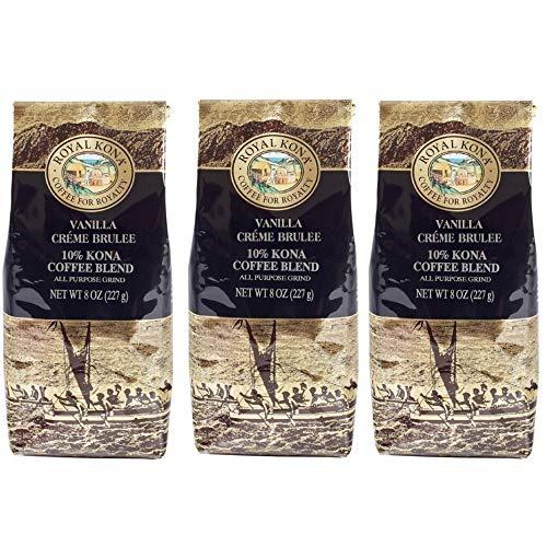 Royal Kona 10% Kona Coffee Blend, Vanilla Creme Brulee Flavor - Ground, 8 Ounce Bag (Pack of Three)