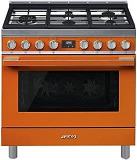 Smeg Portofino CPF36UGMOR 36''x 25'', 4.5 cu. ft. Oven Freestanding Pro-Style Dual Fuel Range, Orange